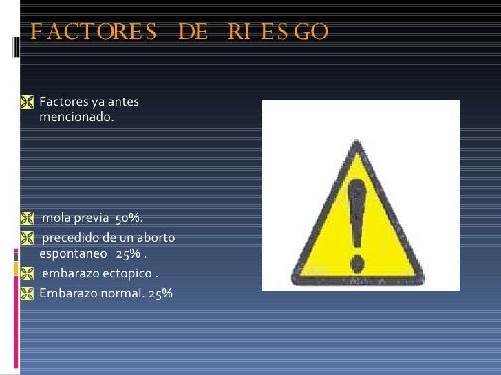 FACTORES DE RIESGO <ul><li>Factores ya antes mencionado. </li></ul><ul><li>mola previa  50%. </li></ul><ul><li>precedido d...