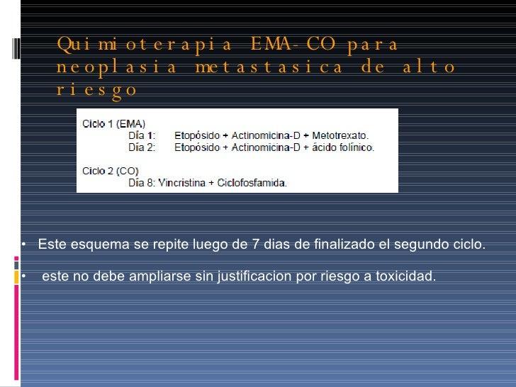 Quimioterapia EMA-CO para neoplasia metastasica de alto riesgo <ul><li>Este esquema se repite luego de 7 dias de finalizad...