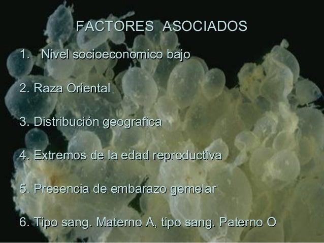 FACTORES ASOCIADOSFACTORES ASOCIADOS 1.1. Nivel socioeconomico bajoNivel socioeconomico bajo 2. Raza Oriental2. Raza Orien...