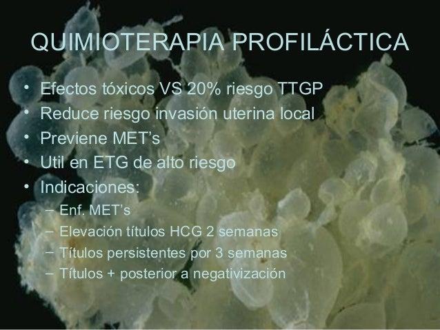 QUIMIOTERAPIA PROFILÁCTICA • Efectos tóxicos VS 20% riesgo TTGP • Reduce riesgo invasión uterina local • Previene MET's • ...