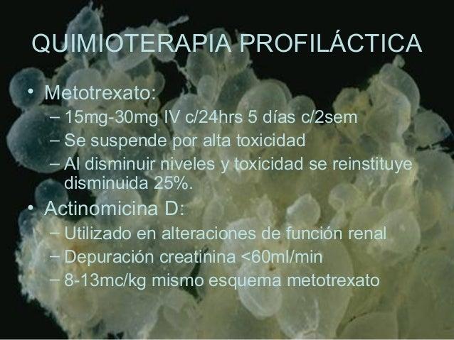 QUIMIOTERAPIA PROFILÁCTICA • Metotrexato: – 15mg-30mg IV c/24hrs 5 días c/2sem – Se suspende por alta toxicidad – Al dismi...