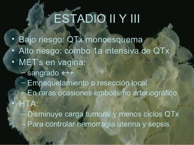 ESTADIO II Y III • Bajo riesgo: QTx monoesquema • Alto riesgo: combo 1a intensiva de QTx • MET's en vagina: – sangrado +++...