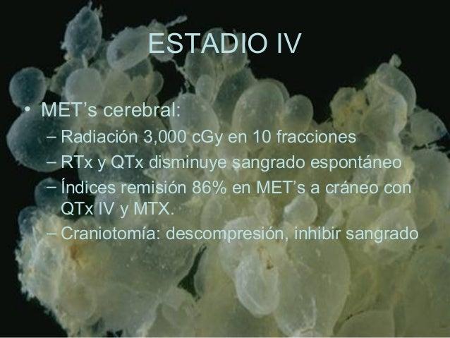 ESTADIO IV • MET's cerebral: – Radiación 3,000 cGy en 10 fracciones – RTx y QTx disminuye sangrado espontáneo – Índices re...