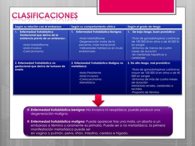 Según su relación con el embarazo       Según su comportamiento clínico          Según el grado de riesgo1. Enfermedad Tro...