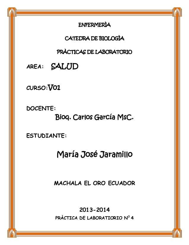 ENFERMERÌA CATEDRA DE BIOLOGÌA PRÀCTICAS DE LABORATORIO  AREA:  SALUD  CURSO:V01 DOCENTE:  Bioq. Carlos García MsC. ESTUDI...