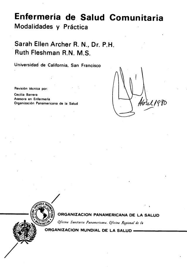 Enfermería de salud comunitaria modalidades y práctica