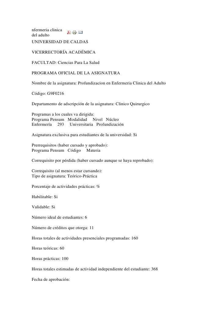 nfermeria clinica del adulto <br />UNIVERSIDAD DE CALDASVICERRECTORÍA ACADÉMICAFACULTAD: Ciencias Para La SaludPROGRAMA OF...