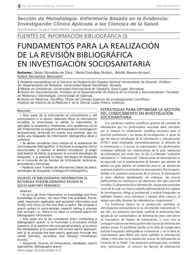 Pág. 10/ Enfermería en Cardiología. 2013; Año XX (60) ARTÍCULOS CIENTÍFICOS  Autores: Javier González de Dios1, María Gonz...