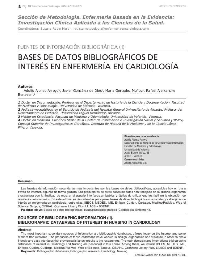 Autores  Adolfo Alonso Arroyo1, Javier González de Dios2, María González Muñoz3, Rafael Aleixandre  Benavent4  1 Doctor en...