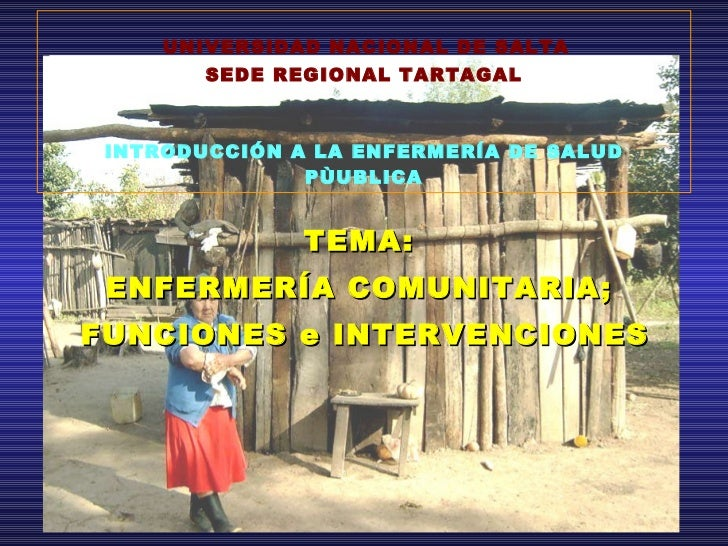 <ul><li>TEMA:  </li></ul><ul><li>ENFERMERÍA COMUNITARIA;  </li></ul><ul><li>FUNCIONES e INTERVENCIONES </li></ul>UNIVERSID...