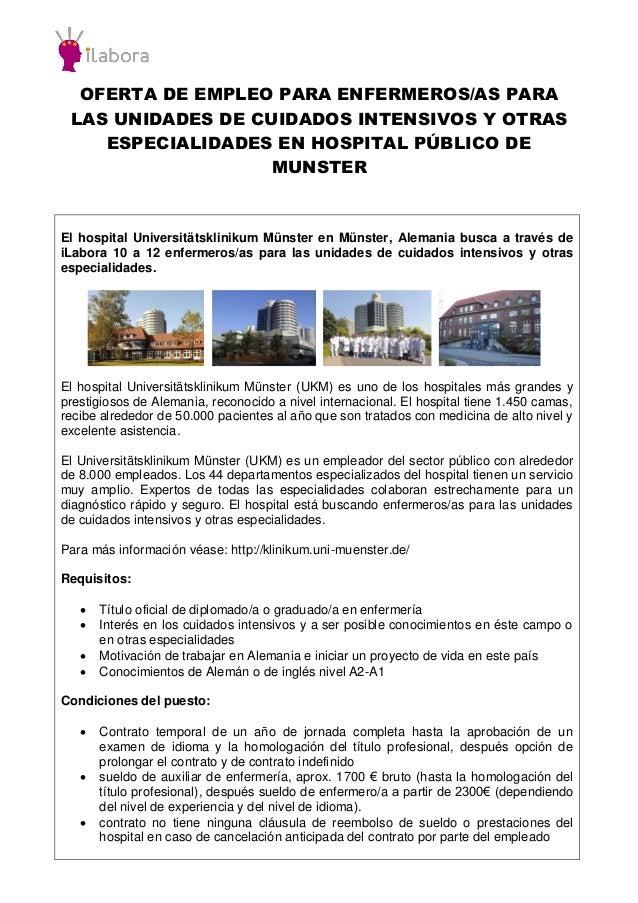 OFERTA DE EMPLEO PARA ENFERMEROS/AS PARA LAS UNIDADES DE CUIDADOS INTENSIVOS Y OTRAS ESPECIALIDADES EN HOSPITAL PÚBLICO DE...