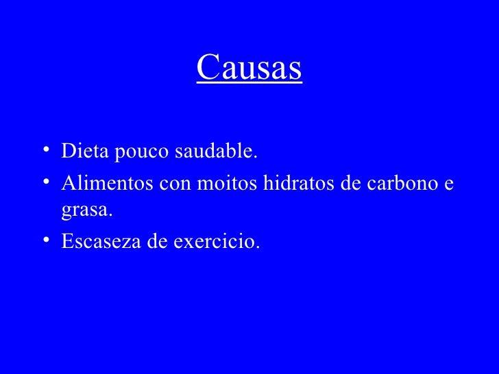 Causas <ul><li>Dieta pouco saudable. </li></ul><ul><li>Alimentos con moitos hidratos de carbono e grasa. </li></ul><ul><li...