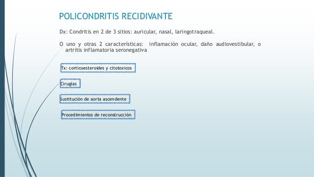 POLICONDRITIS RECIDIVANTE Dx: Condritis en 2 de 3 sitios: auricular, nasal, laringotraqueal. O uno y otras 2 característic...