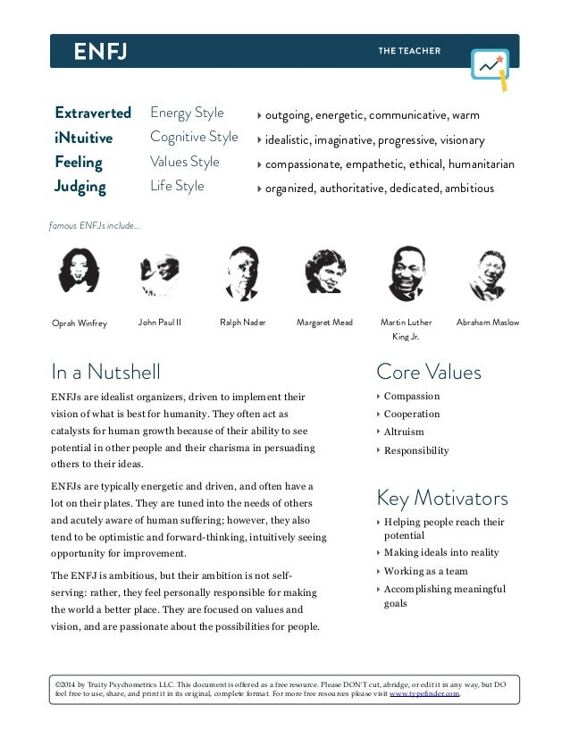 Extraverted Energy Style ‣ outgoing, energetic, communicative, warm iNtuitive Cognitive Style ‣ idealistic, imaginative, p...