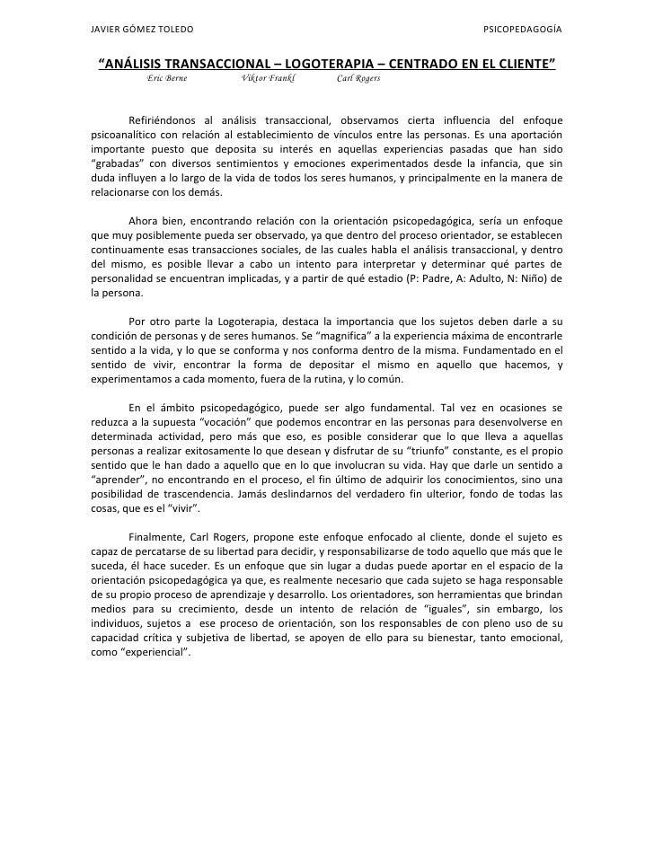 "JAVIER GÓMEZ TOLEDO                                                               PSICOPEDAGOGÍA    ""ANÁLISIS TRANSACCIONA..."