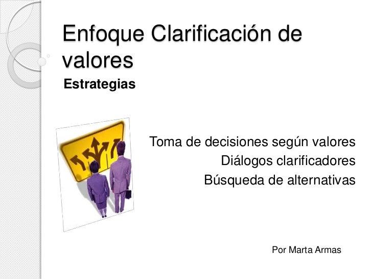 Enfoque Clarificación devaloresEstrategias              Toma de decisiones según valores                        Diálogos c...
