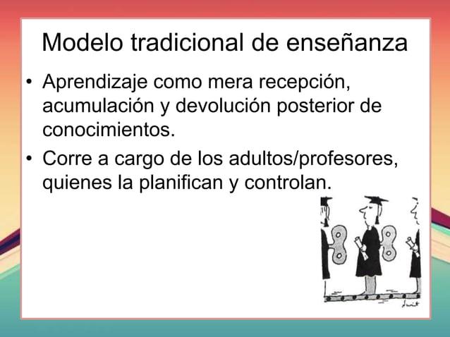 Modelo tradicional de enseñanza • Aprendizaje como mera recepción, acumulación y devolución posterior de conocimientos. • ...