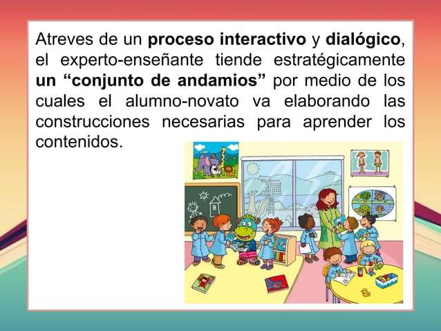 """Atreves de un proceso interactivo y dialógico, el experto-enseñante tiende estratégicamente un """"conjunto de andamios"""" por ..."""
