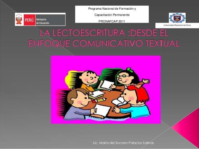 Programa Nacional de Formación y Capacitación Permanente PRONAFCAP 2011 Universidad Nacional de Piura Universidad Nacional...