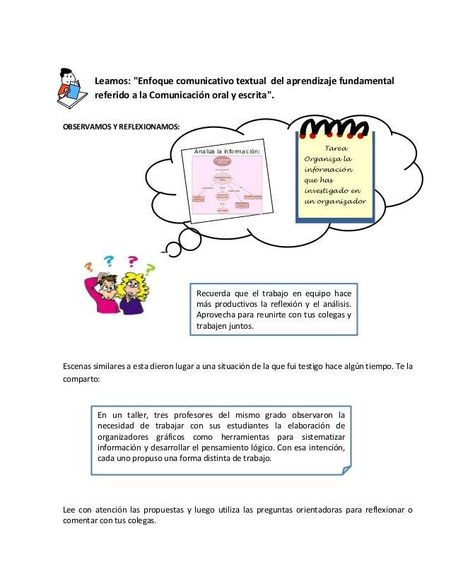 """Tarea Organiza la información que has investigado en un organizador Leamos: """"Enfoque comunicativo textual del aprendizaje ..."""
