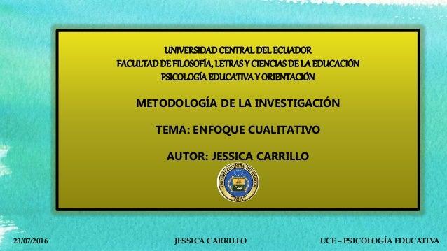 UNIVERSIDADCENTRAL DEL ECUADOR FACULTADDE FILOSOFÍA, LETRAS Y CIENCIAS DE LAEDUCACIÓN PSICOLOGÍAEDUCATIVAY ORIENTACIÓN MET...