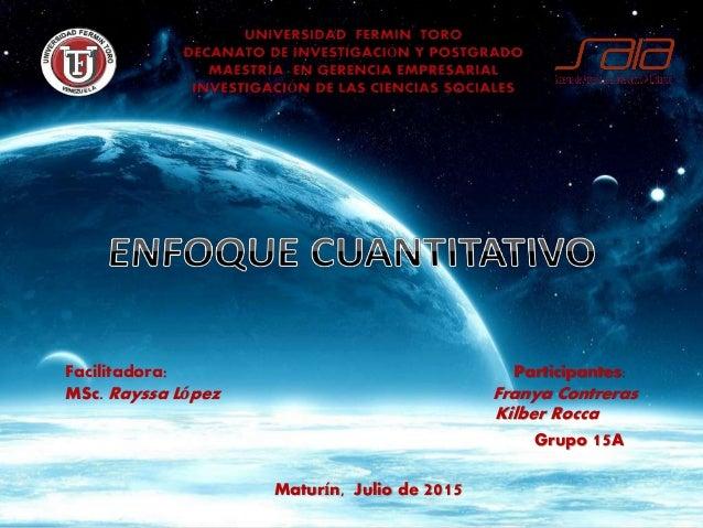 Facilitadora: Participantes: MSc. Rayssa López Franya Contreras Kilber Rocca Grupo 15A Maturín, Julio de 2015
