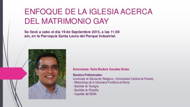 El matrimonio homosexual y la iglesia