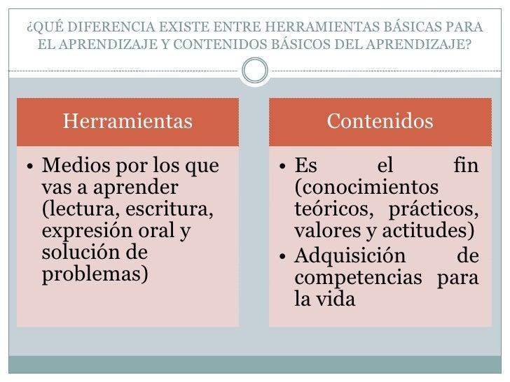 ¿QUÉ DIFERENCIA EXISTE ENTRE HERRAMIENTAS BÁSICAS PARA EL APRENDIZAJE Y CONTENIDOS BÁSICOS DEL APRENDIZAJE?<br />
