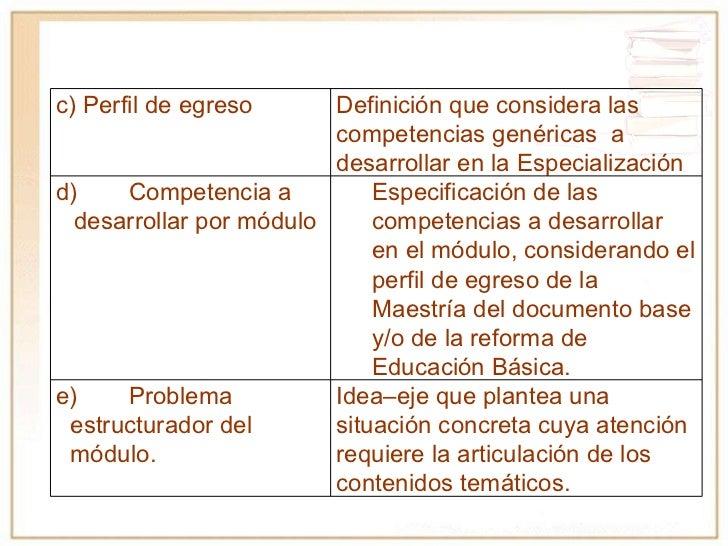 c) Perfil de egreso  Definición que considera las competencias genéricas  a desarrollar en la Especialización d) Competenc...