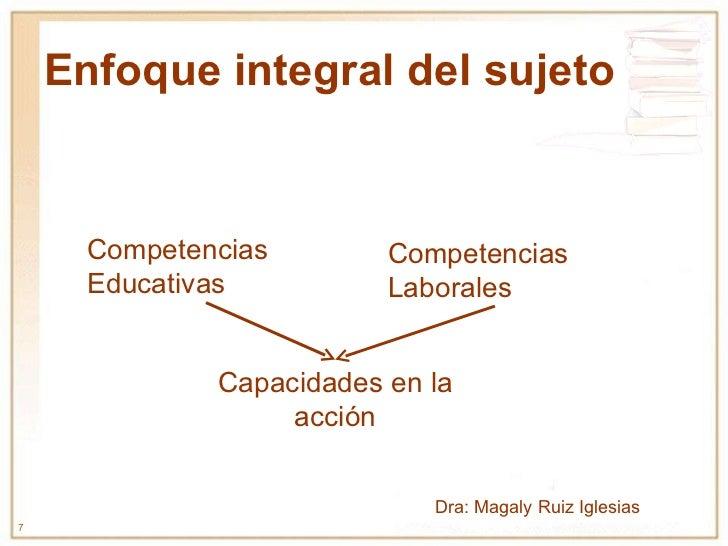 Enfoque integral del sujeto Capacidades en la acción Competencias Laborales Competencias Educativas Dra: Magaly Ruiz Igles...