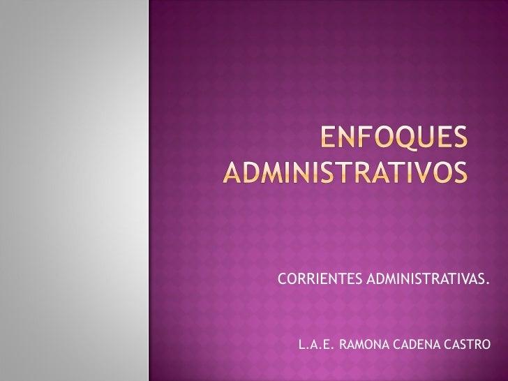 CORRIENTES ADMINISTRATIVAS. L.A.E. RAMONA CADENA CASTRO