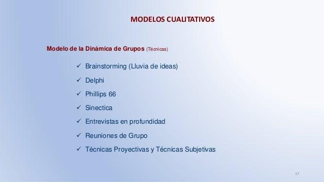 MODELOS CUALITATIVOS 17 Modelo de la Dinámica de Grupos (Técnicas)  Brainstorming (Lluvia de ideas)  Delphi  Phillips 6...