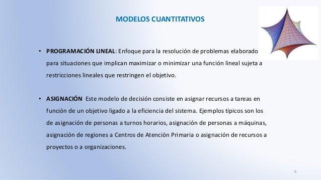 MODELOS CUANTITATIVOS • PROGRAMACIÓN LINEAL: Enfoque para la resolución de problemas elaborado para situaciones que implic...