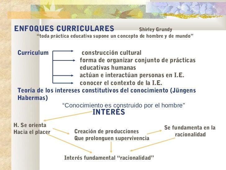 """ENFOQUES CURRICULARES                                Shirley Grundy         """"toda práctica educativa supone un concepto de..."""