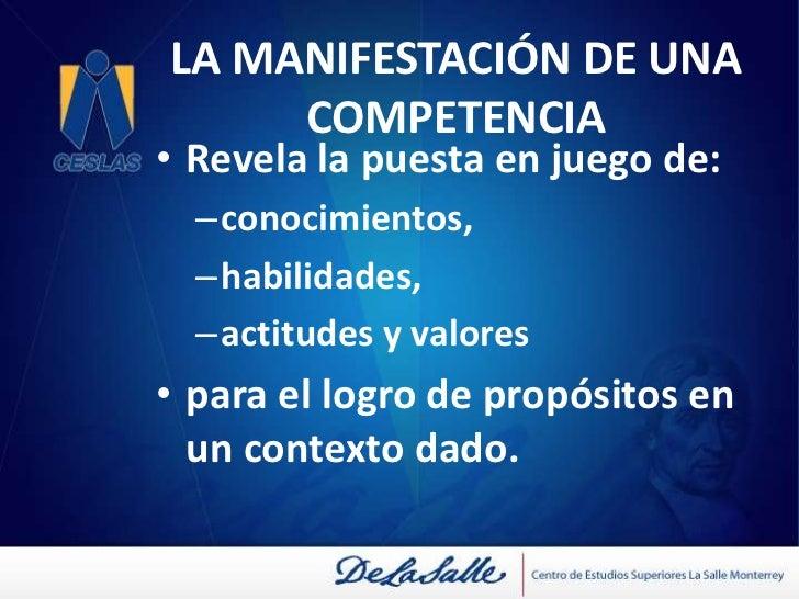 LA MANIFESTACIÓN DE UNA COMPETENCIA<br /><ul><li>Revela la puesta en juego de: