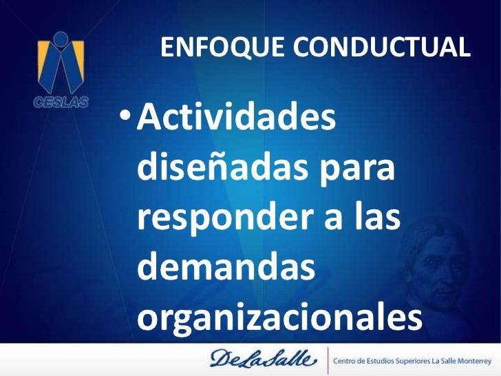 ENFOQUE CONDUCTUAL<br />Énfasis en la organización<br />