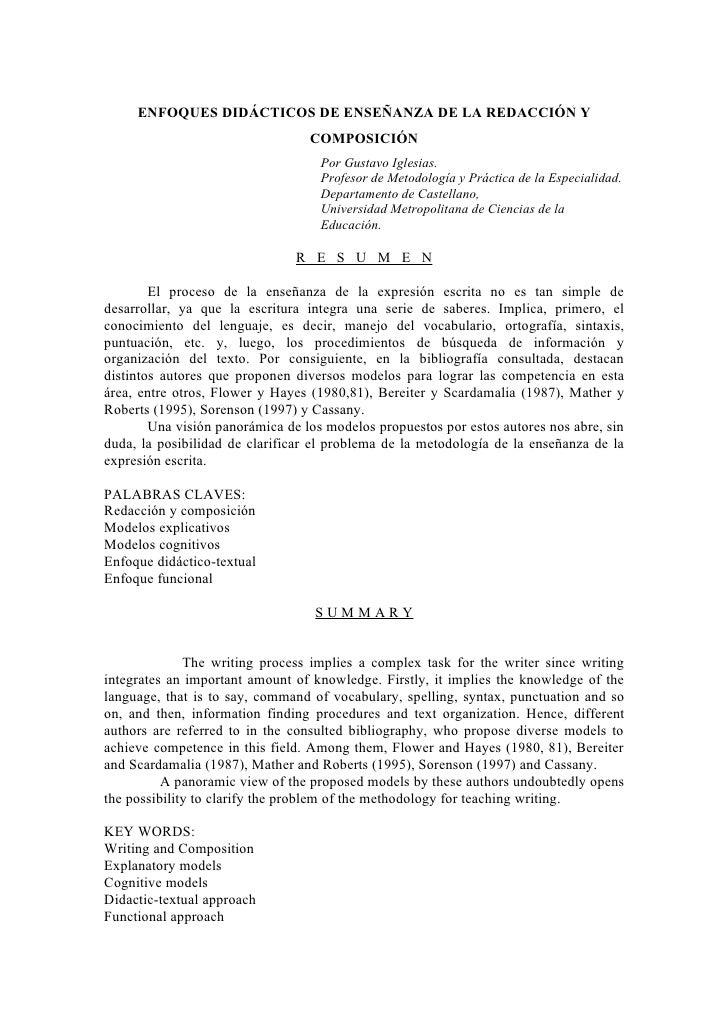 ENFOQUES DIDÁCTICOS DE ENSEÑANZA DE LA REDACCIÓN Y                                  COMPOSICIÓN                           ...
