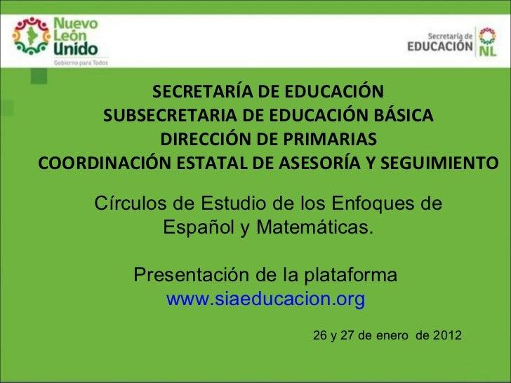 SECRETARÍA DE EDUCACIÓN      SUBSECRETARIA DE EDUCACIÓN BÁSICA            DIRECCIÓN DE PRIMARIASCOORDINACIÓN ESTATAL DE AS...