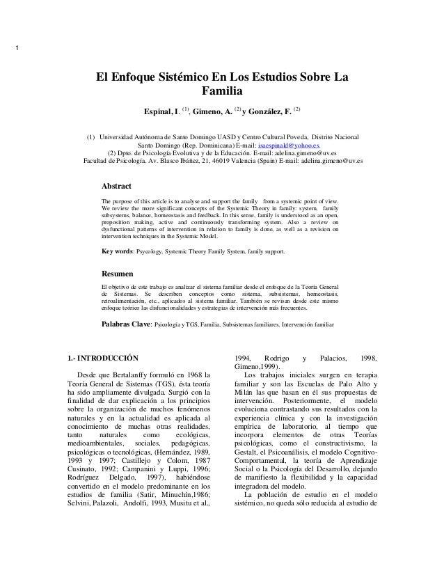 1             El Enfoque Sistémico En Los Estudios Sobre La                                Familia                        ...
