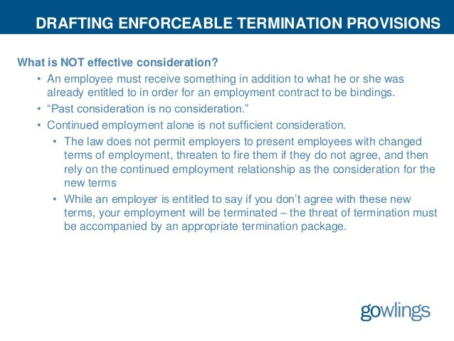 Enforceability of Termination Provisions