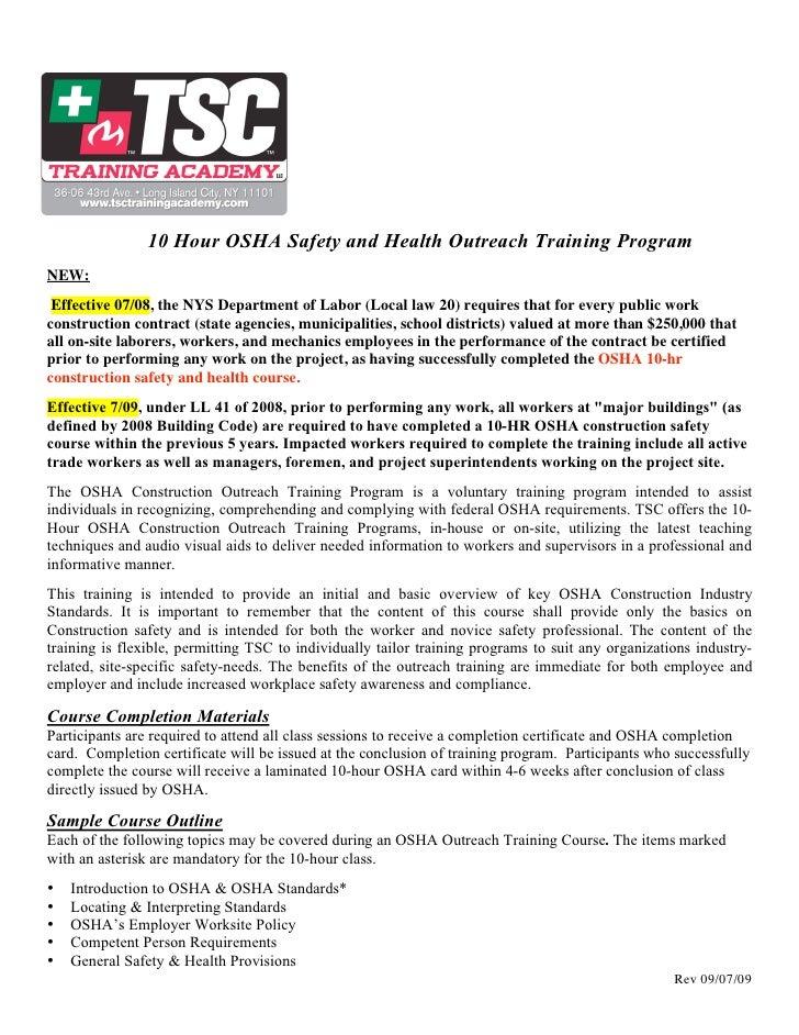 10-Hr OSHA Registration Form
