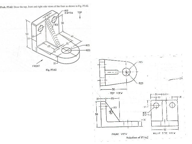 Basic Mechanical Engineering Drawing on 41 orthographic drawings