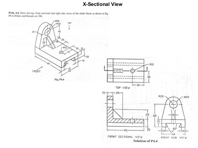 Different views in engineering drawing. Section Views in