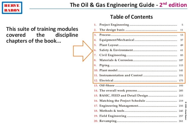 ©2015–HervéBaron HERVE BARON The Oil & Gas Engineering Guide - 2nd edition Table of Contents This suite of training module...