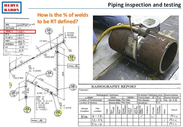 ©2015–HervéBaron HERVE BARON Piping inspection and testing How is the % of welds to be RT defined?