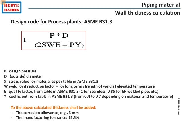 ©2015–HervéBaron HERVE BARON Piping material Wall thickness calculation Design code for Process plants: ASME B31.3 )( PY2S...