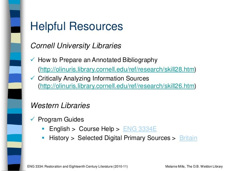 library cornell edu annotated bibliography