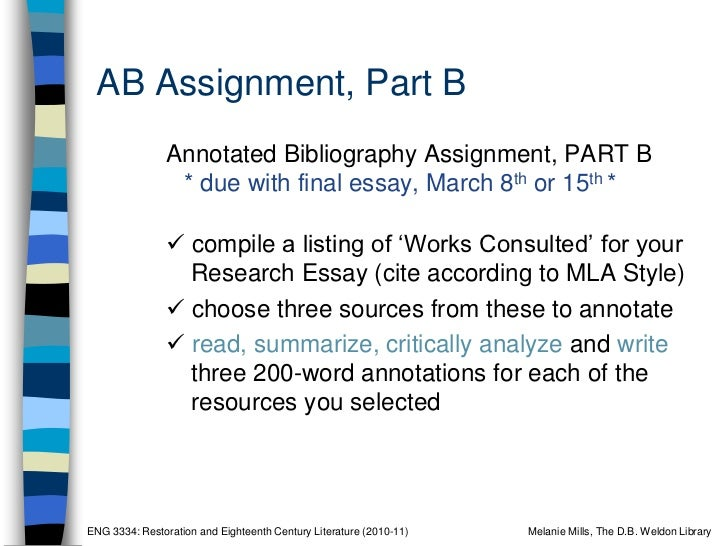 Eng 3334e Annotated Bibliography Workshop