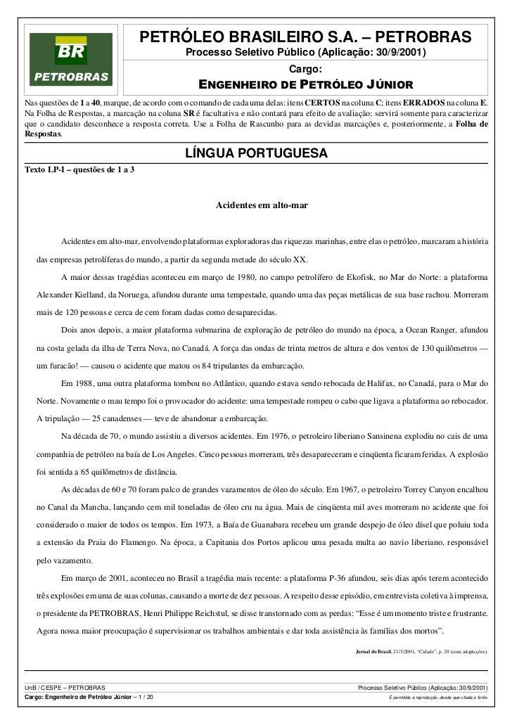 PETRÓLEO BRASILEIRO S.A. – PETROBRAS                                                 Processo Seletivo Público (Aplicação:...
