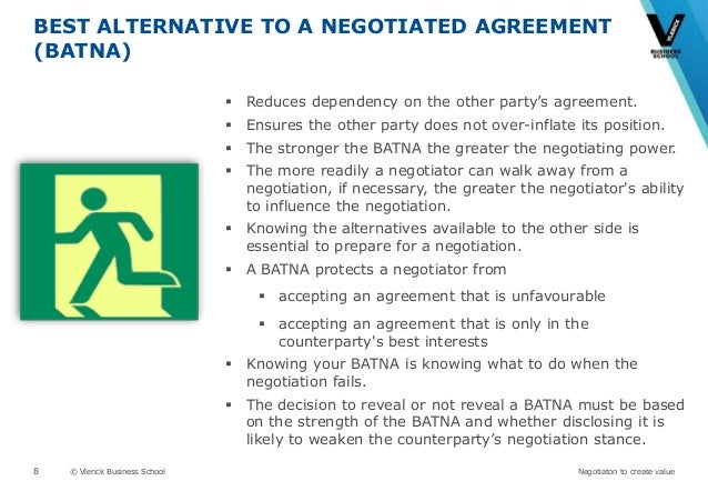 batna best alternative Batna means 'best alternative to a negotiated agreement' this is your alternate plan when the talks start to wobble out of control this is your alternate plan when the talks start to wobble out of control.